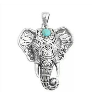 NWOT Silver ELEPHANT Necklace w/ Turquoise Bead